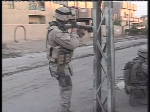 united states marines on foot patrol in iraq. - iraq stock videos & royalty-free footage
