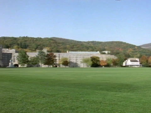 United States Military Academy at West Point w/ open lawn FG West Point Museum on hill BG