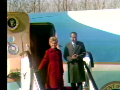 united states president and first lady richard and pat nixon deplane in peking, china, during a historic trip. - business or economy or employment and labor or financial market or finance or agriculture stock videos & royalty-free footage