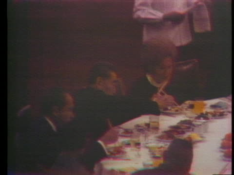united states president and first lady richard and pat nixon eat at a banquet on a historic trip to peking, china. - first lady stock videos & royalty-free footage