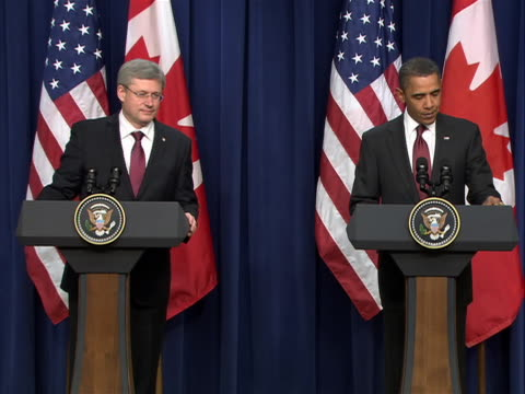 united states president barack obama and canadian prime minister stephen harper speak at a white house press conference. topics of discussion... - united states and (politics or government) stock videos & royalty-free footage