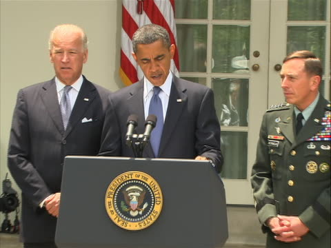 united states president barack obama, vice president joe biden, secretary of defense robert gates, chairman of the joint chiefs of staff mike mullen... - international security assistance force stock videos & royalty-free footage