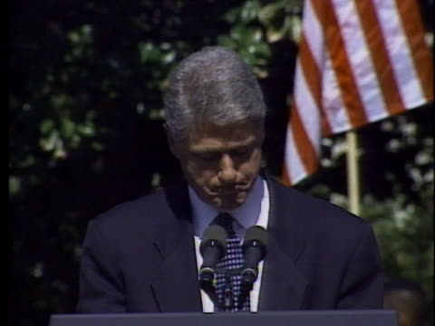 united states president bill clinton calls for a moment of silence following the bombing of the a.p. murrah federal building in oklahoma city. - oklahoma city bombing stock videos & royalty-free footage