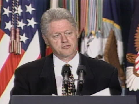 united states president bill clinton talks about living conditions in kosovo, serbia. - executioner stock videos & royalty-free footage