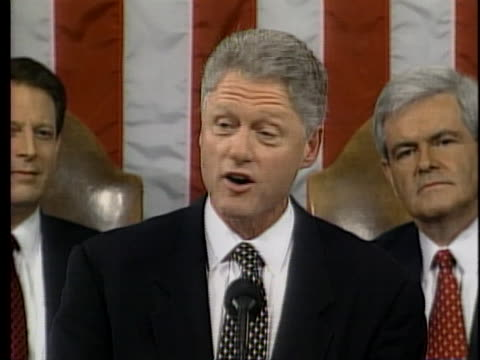united states president bill clinton talks about reductions in crime and welfare during his 1998 state of the union address. - united states congress stock videos & royalty-free footage