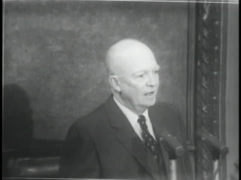 vídeos de stock, filmes e b-roll de united states president dwight d. eisenhower says the justice department will be ready to present their conclusions on the investigation into quiz... - game show