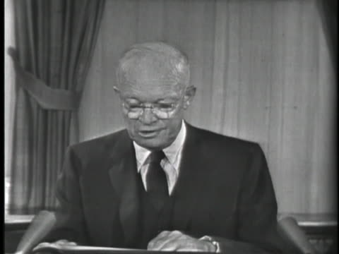 vídeos y material grabado en eventos de stock de united states president dwight eisenhower broadcasts a speech concerning the spread of communism. - (war or terrorism or election or government or illness or news event or speech or politics or politician or conflict or military or extreme weather or business or economy) and not usa