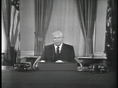 vídeos y material grabado en eventos de stock de united states president dwight eisenhower broadcasts a speech concerning the use of diplomacy over military force to resolve differences concerning... - (war or terrorism or election or government or illness or news event or speech or politics or politician or conflict or military or extreme weather or business or economy) and not usa