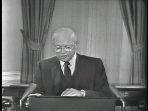 vídeos y material grabado en eventos de stock de united states president dwight eisenhower broadcasts a speech concerning the use of force to defend democracies against communist powers. - (war or terrorism or election or government or illness or news event or speech or politics or politician or conflict or military or extreme weather or business or economy) and not usa