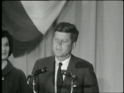 united states president elect john f. kennedy talks to the nation. - anno 1960 video stock e b–roll