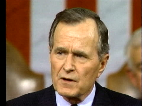 vídeos de stock, filmes e b-roll de united states president george h w bush talks about the united states and the soviet union pulling troops out of europe during his 1990 state of the... - (war or terrorism or election or government or illness or news event or speech or politics or politician or conflict or military or extreme weather or business or economy) and not usa
