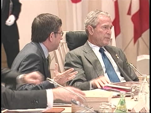 united states president george w. bush attends the 34th g8 summit in japan. - united states and (politics or government)点の映像素材/bロール