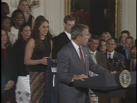 united states president george w. bush congratulates the ncaa winter champs. - 2000年風格 個影片檔及 b 捲影像