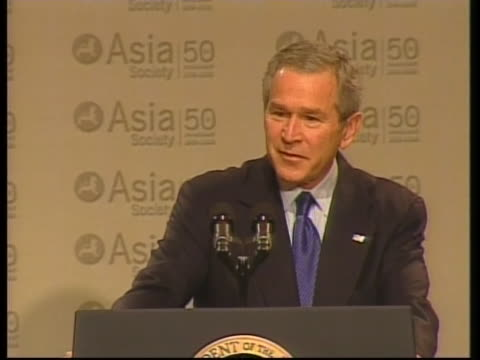 united states president george w. bush gives a speech to the asia society concerning pakistan. - united states and (politics or government) stock videos & royalty-free footage
