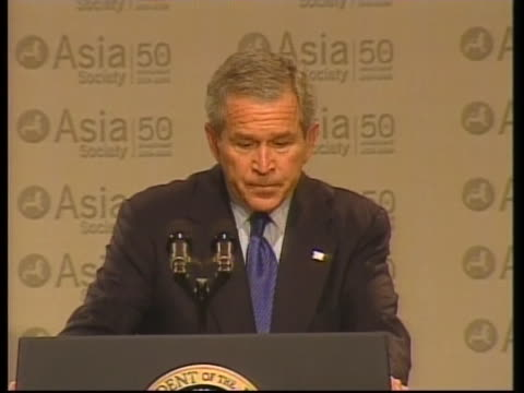 united states president george w. bush gives a speech to the asia society concerning fair trade practices. - united states and (politics or government) stock videos & royalty-free footage