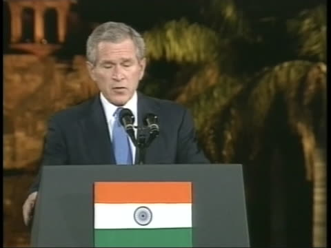 united states president george w. bush speaks about india's global leadership during a speech in bangalore, india. - united states and (politics or government) stock videos & royalty-free footage