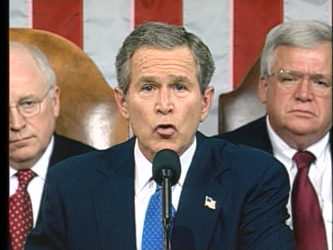 united states president george w. bush talks about iraq during his 2003 state of the union address. - iraq video stock e b–roll