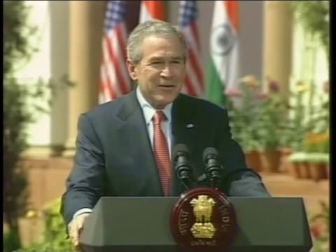united states president george w. bush talks about making an agreement with india. - united states and (politics or government) stock videos & royalty-free footage