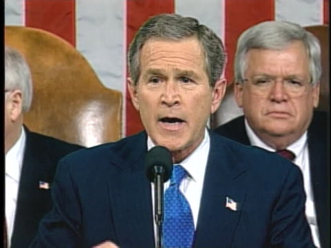 united states president george w. bush talks about saddam hussein during his 2003 state of the union address. - saddam hussein stock videos & royalty-free footage