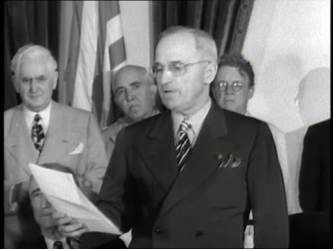 united states president harry s truman announces japan's unconditional surrender to end world war ii - surrendering stock videos & royalty-free footage