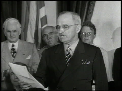 united states president harry s truman speaking ' message from japanese government unconditional surrender' world war ii wwii - japanese surrender stock videos and b-roll footage