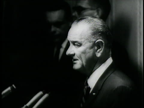United States President Lyndon B Johnson gives a speech on the United States' aggression in Vietnam