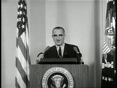 vídeos de stock, filmes e b-roll de united states president lyndon b johnson makes a speech concerning the tonkin gulf resolution - 1964