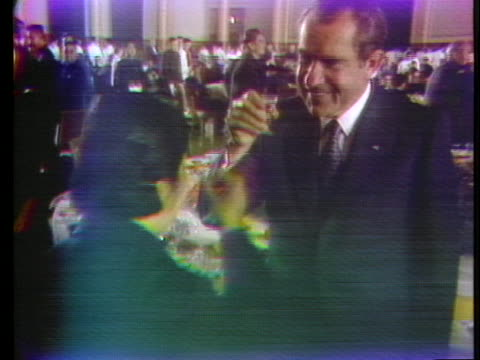stockvideo's en b-roll-footage met united states president richard nixon drinks toasts with people attending a banquet during his historic trip to peking, china. - healthcare and medicine or illness or food and drink or fitness or exercise or wellbeing