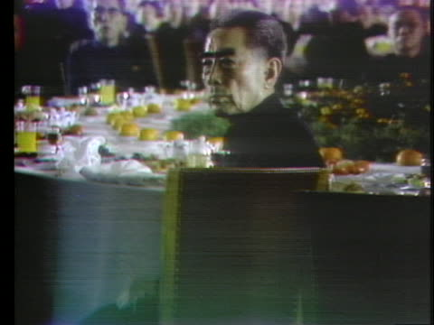 united states president richard nixon gives a speech at a banquet during his historic trip to china, and proposes a toast to chairman mao tse tung... - business or economy or employment and labor or financial market or finance or agriculture stock videos & royalty-free footage