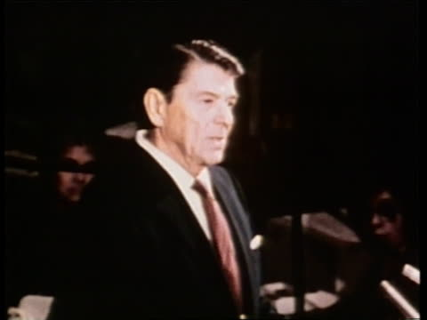 united states president ronald reagan proposes a four point peace during a speech at the united nations in new york city - speech stock videos & royalty-free footage