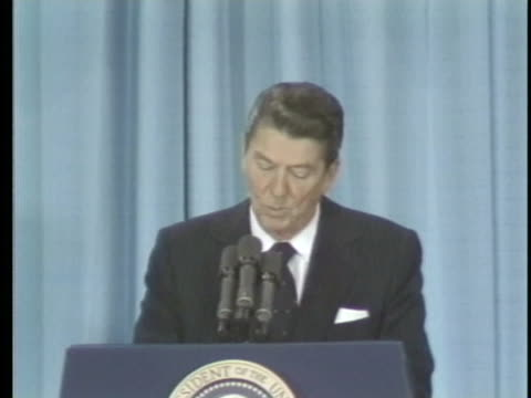 united states president ronald reagan speaks at an afl-cio banquet and talks about how the people, not the government, in the united states should... - united states and (politics or government) stock videos & royalty-free footage