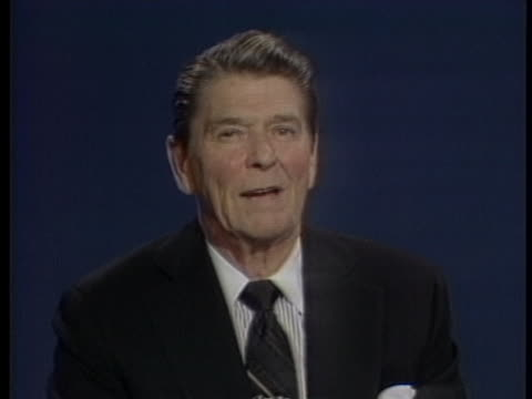 united states president ronald reagan talks about the need to continue with economic reforms. - reform stock-videos und b-roll-filmmaterial