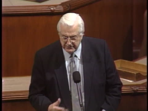 united states representative henry hyde speaks before congress and says that it is time to look at the 2000 presidential election results as... - united states congress点の映像素材/bロール
