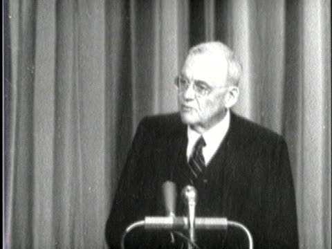 vídeos de stock, filmes e b-roll de united states secretary of state john foster dulles talks about the cold war - (war or terrorism or election or government or illness or news event or speech or politics or politician or conflict or military or extreme weather or business or economy) and not usa