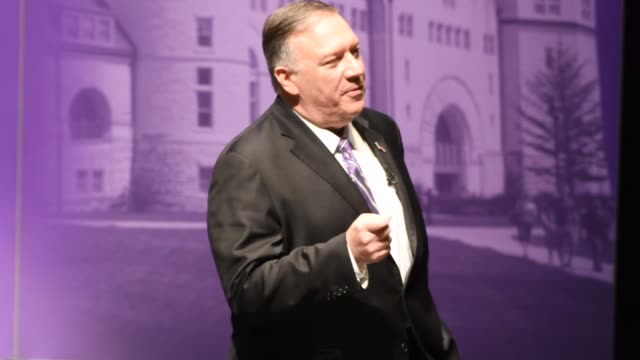 united states secretary of state mike pompeo delivers langdon lecture at kansas state university - strategy stock videos & royalty-free footage