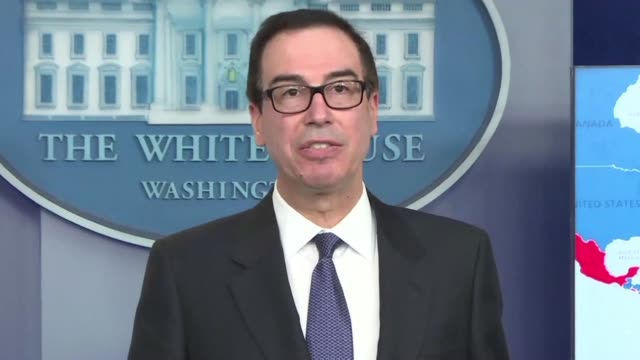 vídeos de stock, filmes e b-roll de united states secretary of the treasury steven mnuchin announces sanctions on venezuela's state oil company pdvsa in the latest effort to ramp up... - atlântico central eua