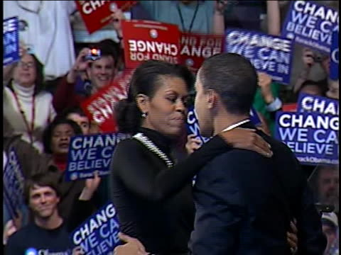 united states senator barack obama attends a rally in nashua, new hampshire while campaigning for the 2008 democratic nomination for president. - nomination stock videos & royalty-free footage