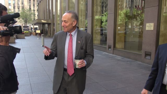 United States Senator Chuck Schumer at the McGraw Hill building in Rockefeller Center talks about his cousin standup comedian writer producer and...