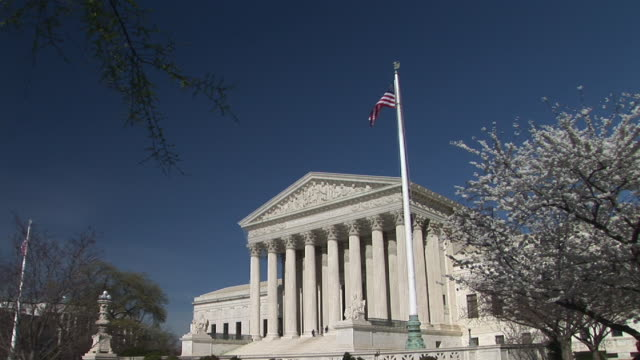 ms, united states supreme court building and cherry blossom, washington, dc, washington, usa - us supreme court building stock videos & royalty-free footage