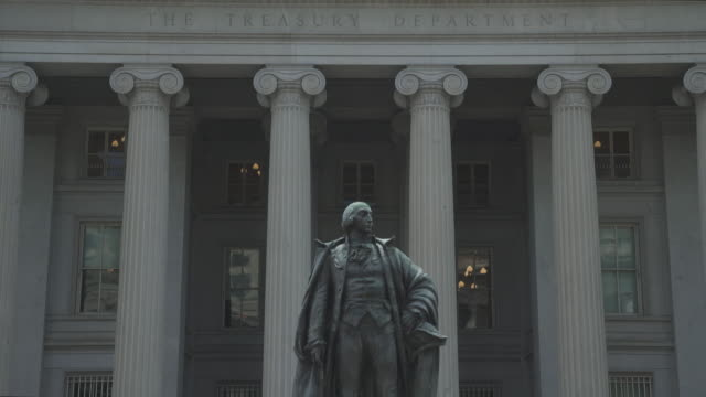 united states treasury department in washington, dc - 4k/uhd - tilt up - financial building stock videos and b-roll footage