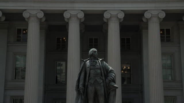 united states treasury department in washington, dc - 4k/uhd - zoom out - treasury stock videos and b-roll footage