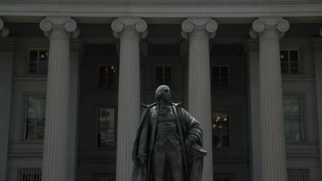 finanzministerium der vereinigten staaten in washington, dc 4k/uhd - verkleinern - us finanzministerium stock-videos und b-roll-filmmaterial