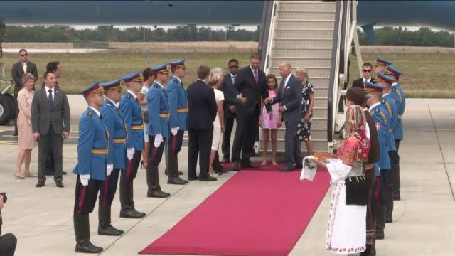 united states vice president joe biden welcomed by serbian prime minister aleksandar vucic as he arrives in belgrade, serbia on august 16, 2016.... - diplomacy stock videos & royalty-free footage