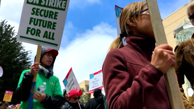 Univeristy of California San Francisco medical center workers stage a demonstration outside of the UCSF medical center on May 9 2018 in San Francisco...