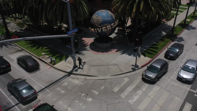 universal music group headquarters, aerial view in santa monica, california, u.s., on friday, june 4, 2021. - street name sign stock videos & royalty-free footage