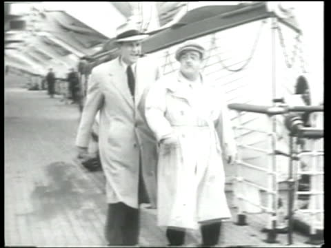 Abbott and Costello perform a brief comedy skit when they arrive in England on the Queen Mary