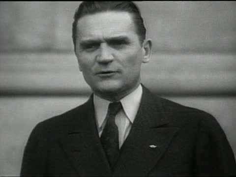 as german militarism increases senator shepherd is critical and senator nye stresses the need for the us to remain neutral - newsreel stock videos & royalty-free footage