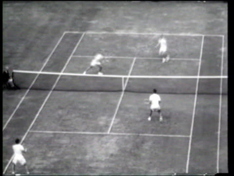 australians lew hoad and rex hartwig defeat americans tony trabert and vic seixas, to win the davis cup. - davis cup stock videos & royalty-free footage