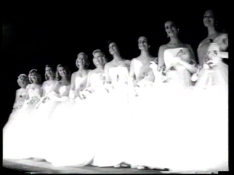 beauty pageant contestants compete in the 1957 miss american pageant. - 1957 stock videos & royalty-free footage