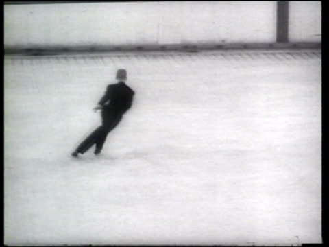 david jenkins wins the men's and carol heiss wins the women's world figure skating championships - ニュース映画点の映像素材/bロール